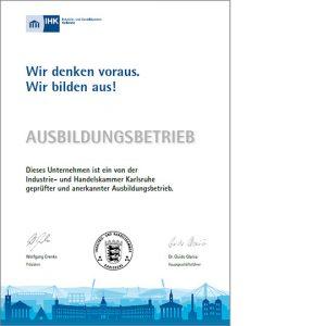 Urkunde IHK Karlsruhe Ausbildungsbetrieb